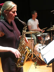 Franziska Schroeder (sax) performing with Steve Davis (drums).